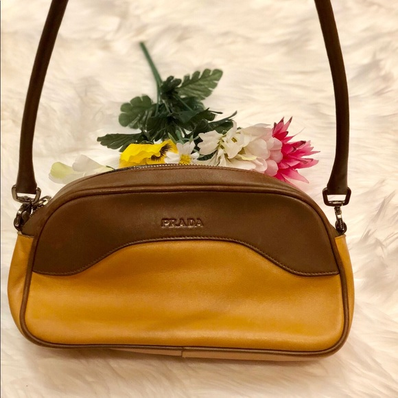 cc6c2f232972 ... coupon code for hpauthentic prada two tone brown leather handbag 17e5d  32c15
